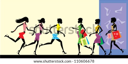 women shopping. - stock vector