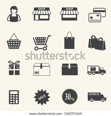 Women Shopping icon set - stock vector