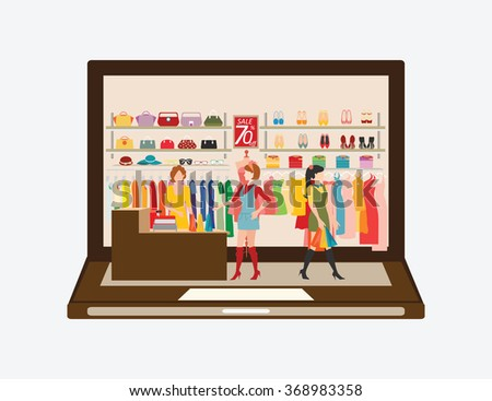 Women shopping in a clothing store on laptop, Shopping fashion, bags, shoes, accessories . Online Fashion Store vector illustration. - stock vector