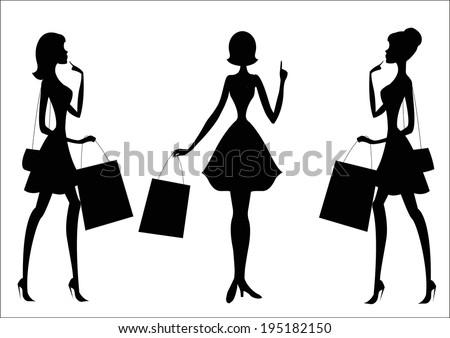 Women shopping. Silhouettes. - stock vector