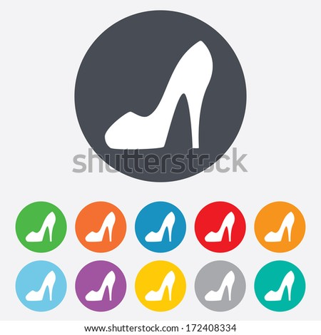 Women sign. Women's shoe icon. High heels shoe symbol. Round colourful 11 buttons. Vector - stock vector