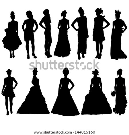 Woman In Dress Silhouette Stock Images, Royalty-Free ...