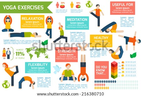 Women silhouettes in yoga poses fitness workout infographic set vector illustration - stock vector