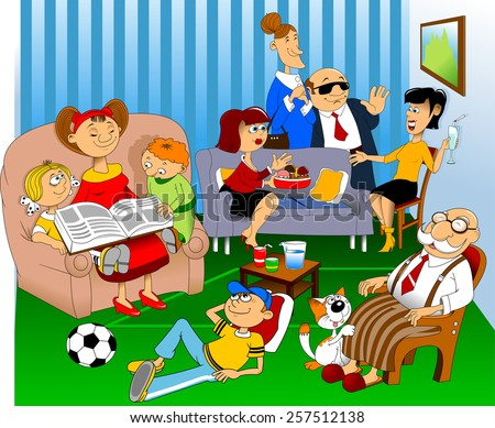 Women sit on the couch and talk, children read a book - stock vector