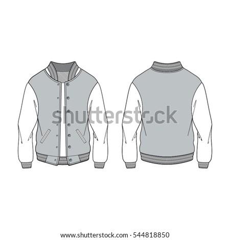 Women Sport Varsity Jacket Template Stock Vector 544818850 ...