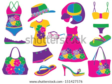 women summer clothes stock vector hd royalty free 151427576 rh shutterstock com summer clothes black and white clipart summer clothes clipart free