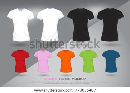 Women Tshirt Mockup Set Black White Stock Vector - Property of t shirt template