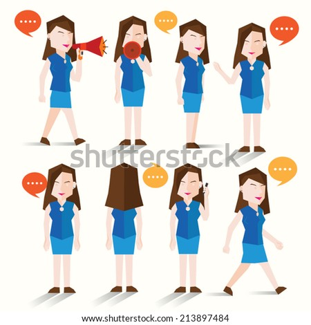 Women talk and gather together vector design