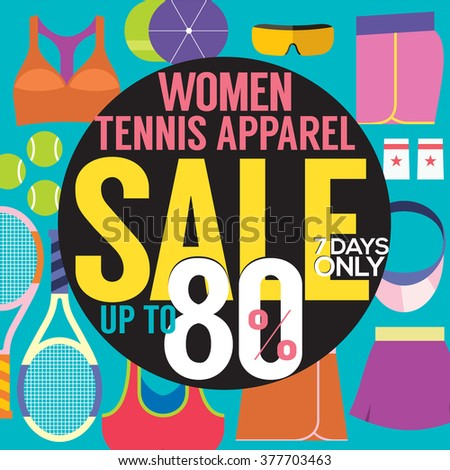 Women Tennis Apparel Sale Up To 80 Percent Vector Illustration