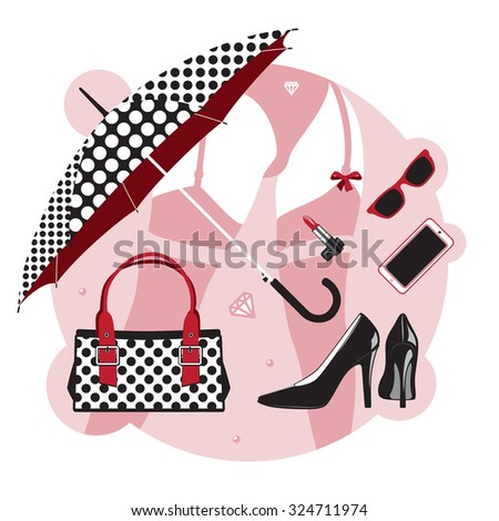 Women things. Set of accessories and clothes, shoes, bag, cosmetics and jewelry. vector illustration - stock vector