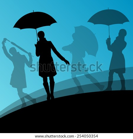 Women umbrella and raincoat silhouettes abstract seasonal outdoor weather background vector illustration - stock vector