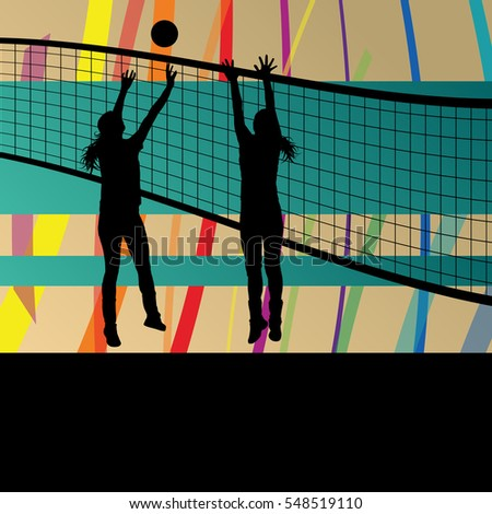 Women volleyball player sport silhouettes in abstract background illustration vector