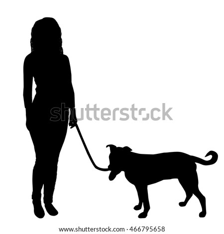 Women walking a dog on white background, vector