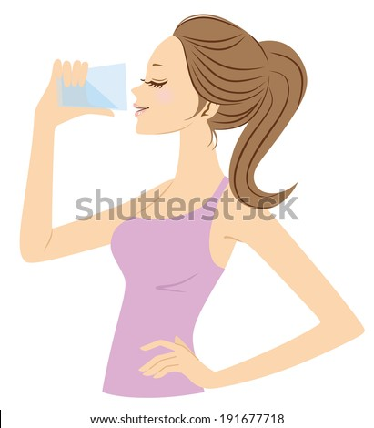 Women who drink water - stock vector