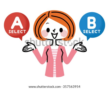 women who recommend A or B - stock vector
