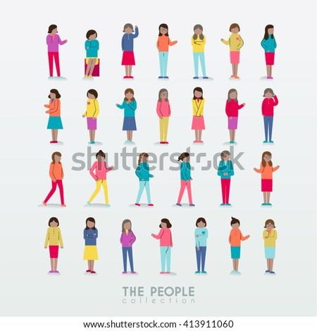 Women with Different Poses People Icon Collection Vector Design - stock vector