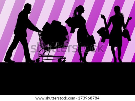 Women with shopping bags and man with shopping cart vector background abstract concept
