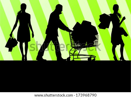 Women with shopping bags and man with shopping cart vector background abstract concept - stock vector