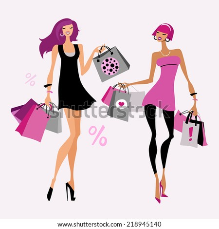 Women with shopping bags. Vector illustration.  - stock vector