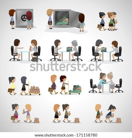 Women Working In Bank - Isolated On Gray Background - Vector Illustration, Graphic Design Editable For Your Design. Business Concept - stock vector