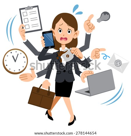 Women working in busy too company - stock vector