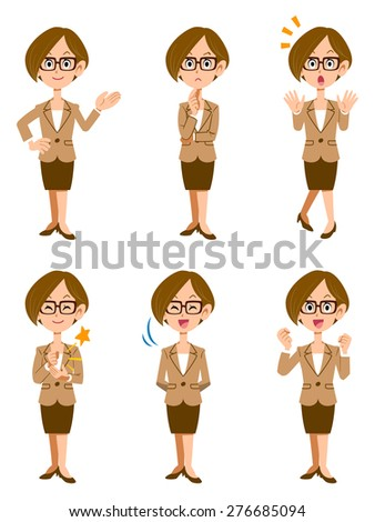 Women working in the office, six kinds of gestures and facial expressions - stock vector