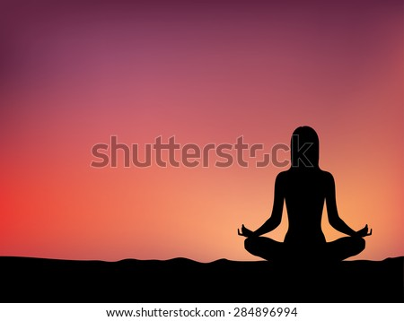 women yoga and warm sky background, vector - stock vector
