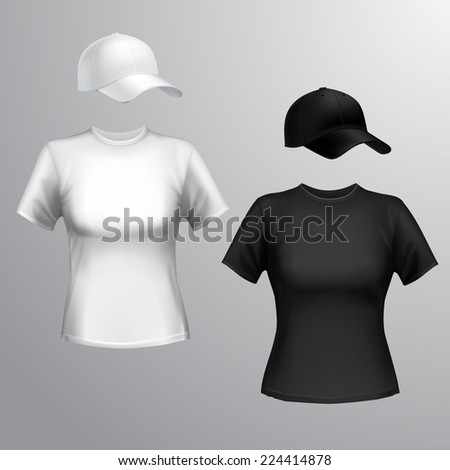 Womens black and white t-shirt and baseball cap front set isolated on grey background vector illustration - stock vector