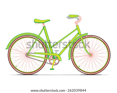 Womens Green City Bicycle - stock vector