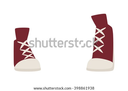 Womens running sneakers and athletic womens sneakers Womens sneakers female trendy fashion concept. Red girl running sneakers. Red old retro womens sneakers fashion sport casual shoes flat vector. - stock vector