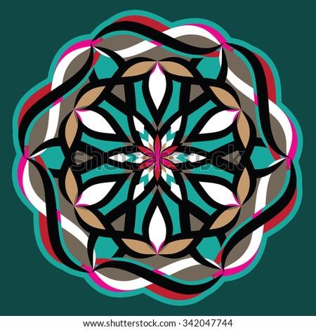 Wonder Flower - Ornamental Arabesque Floral Motif - stock vector