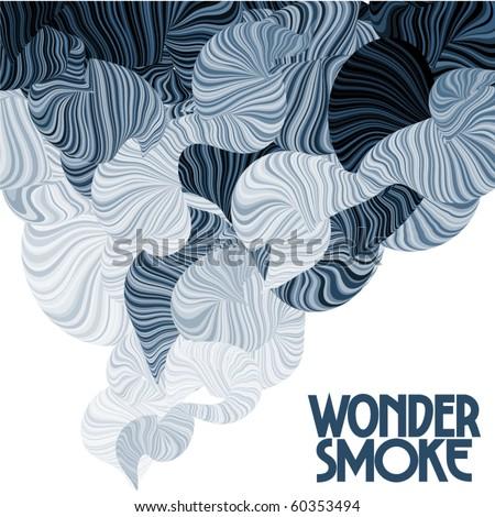 Wonder smoke. Curving lines. - stock vector