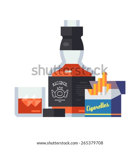 Wonderful bottle of whiskey glass with ice, open a pack of cigarettes. Flat vector illustration - stock vector