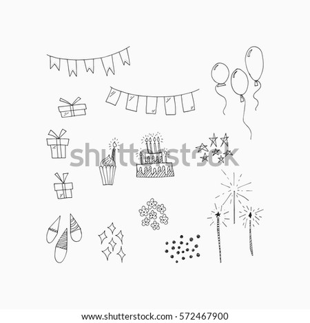 Wonderful Hand Drawn Birthday Symbols Amazing Stock Vector 572467900