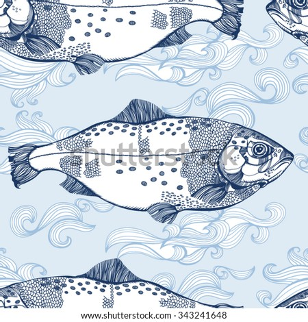 Wonderful vector pattern in vintage style of fishes