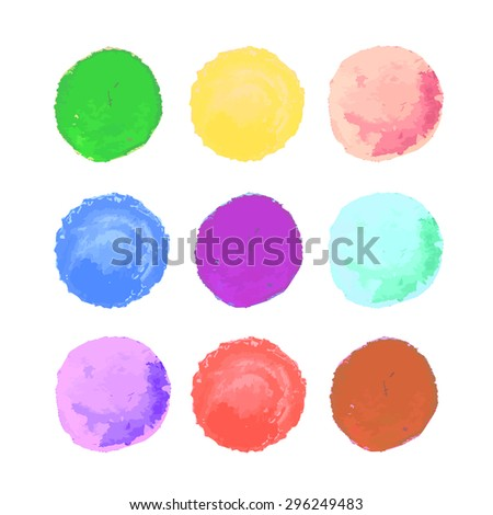 Wonderful watercolor circles form brush stroke set. Rounded colored shapes on white background