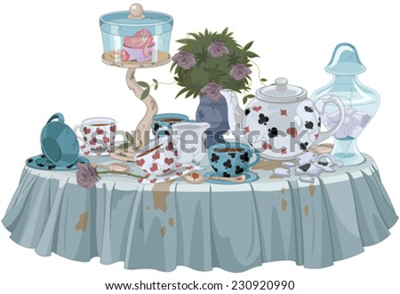 Wonderland Tea Party decorated table - stock vector