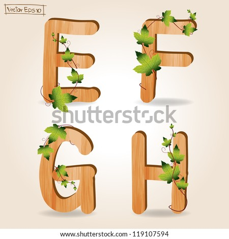 wood alphabet with branch green leaves, Vector template design ( e f g h ) - stock vector