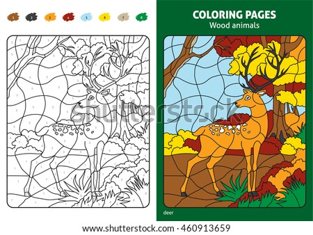 Wood Animals Coloring Page For Kids Deer In Forest Printable Design Book