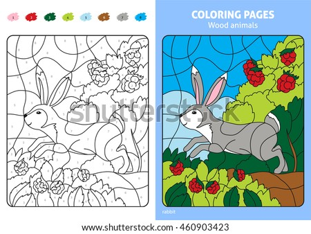 Wood Animals Coloring Page Kids Rabbit Stock Vector 460903423 ...