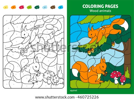 Wood Animals Coloring Page For Kids, Squirrels In Forest. Printable Design  Coloring Book.