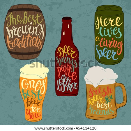 Wood barrel or keg with beer and aluminium or steel beverage can, glass bottle with condensated liquid drops and pint glassware. Lettering with detailed font on stein or mug - stock vector