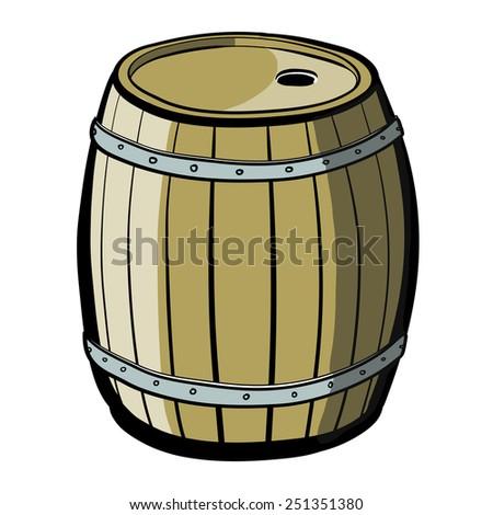 Wood barrel with steel ring. Old Barrel. A children's sketch. Color image. - stock vector