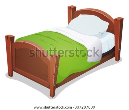 wood bed green blanket illustration cartoon stock vector. Black Bedroom Furniture Sets. Home Design Ideas