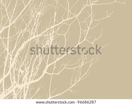 wood branches on brown background, vector illustration
