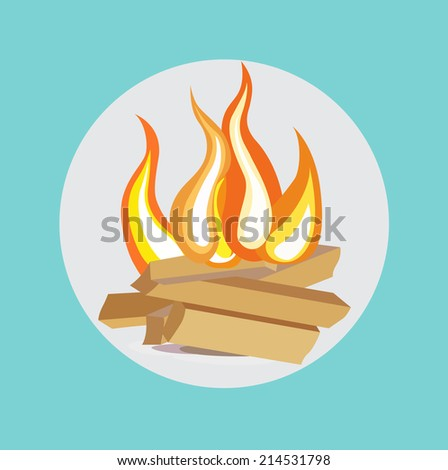 wood camp fire flat design icon - stock vector