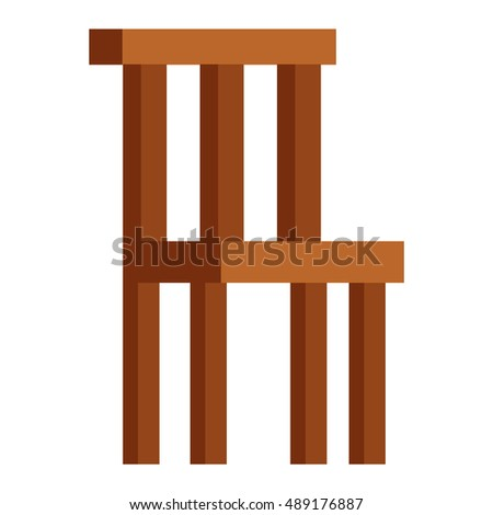 Wood chair isolated vector illustration.