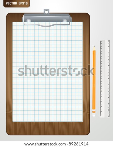 Wood Clipboard with grid paper and pencil, ruler. Vector template for design work - stock vector