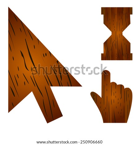 wood cursor. Isolated On White Background. Vector Illustration. - stock vector