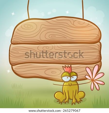 Wood desk with frog on summer background